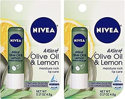 Nivea Lip Care - A Kiss Of Olive Oil & Lemon - Net Wt. 0.17 OZ (4.8 g) Per Lip Balm - Pack of 2 Lip Balms