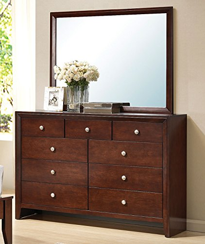 Major-Q 9020404 + 9020405 Contemporary Brown Cherry Finish Bedroom Mirror and Dresser