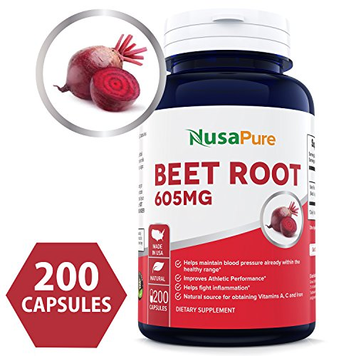 Best Beet Root 605mg 200caps (NON-GMO & Gluten Free) - Lower Blood Pressure, Increase Athletic Performance, Regulate Insulin Response & Maintain Skin Condition ★100% MONEY BACK GUARANTEE!★