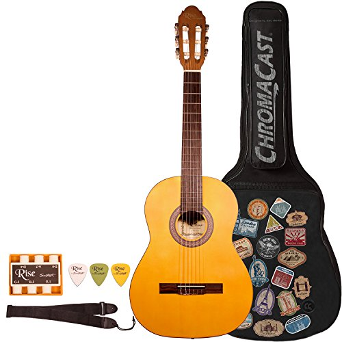RISE-CL-N-KIT-1 Beginner'S Classical Guitar, Full Size, Satin Gold Stain (Satin Gold Angle)