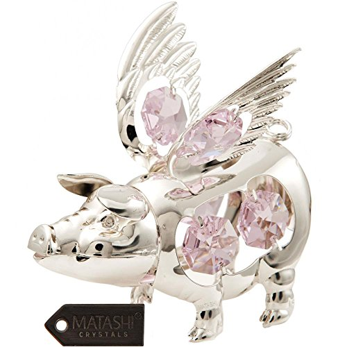 Matashi Silver Plated Crystal Studded 2019 Chinese New Year of The Flying Pig Ornament with Pink & Clear Crystals, Lucky Charm Ornament