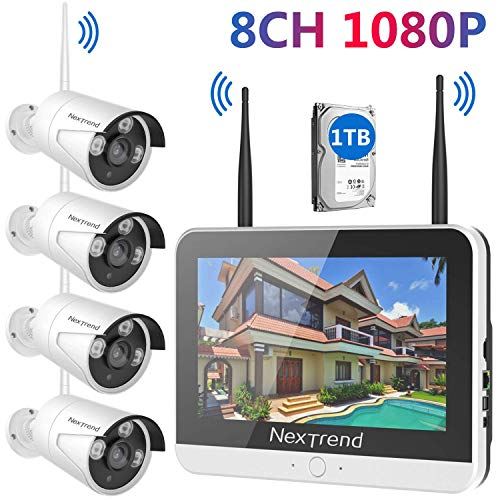 Wireless Security Camera System with Monitor, NexTrend 8CH 1080P Security Camera System with 12