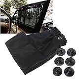 MAZIMARK--1 Pair Black Car Sun Shade Curtain Suction Cup UV Protection Side Window Curtain