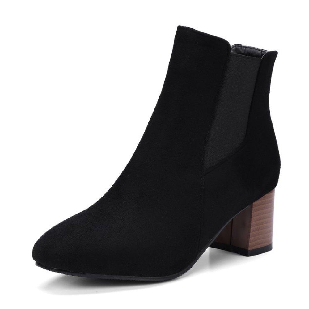 78a48df8a47590 Femmes Bottines Mid Élevé Bloquer Les Talons Dames Dames  Dames Bottes Trapues Bout Pointu Chaussures De Fête Taille ...