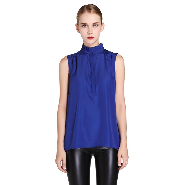 MAXdesign Women's Sleeveless Vintage Blouse High Collar Pleated Neckline Top