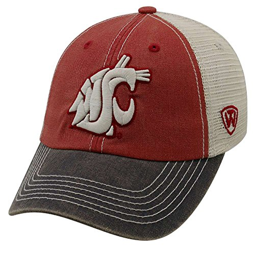 Ncaa Team Logo Hat - Top of the World Adult Unisex's Offroad Snapback Mesh Back Adjustable Hat, Washington State Cougars Cardinal, One Size