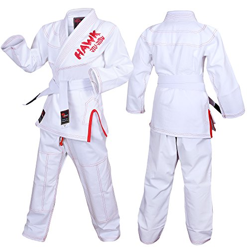 Hawk Kids Brazilian Jiu Jitsu Suit Youth Children BJJ Gi Kimonos Boys & Girls BJJ Uniform Lightweight Preshrunk Pearl Weave Fabric, with Free White Belt, 1 Year Warranty!!! (K2, Boys White) (Weave Bjj Kimono)