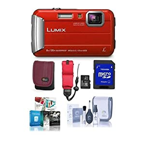Panasonic Lumix DMC-TS30 Digital Camera, 16.1MP, Red - Bundle with Camera Case, 16GB Class 10 SDHC Card, Cleaning Kit, Floating Foam Strap, Professional Software Package