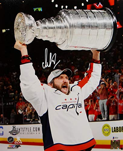 Alexander Ovechkin Signed Capitals 16x20 Holding Stanley Cup Jersey Photo- Beckett/Fanatics Auth White