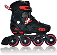 Lucky-M Pink/Blue/Black Children's Adjustable Inline Skates Stunt Flat Roller Skates, Children's Fun R