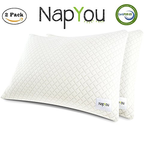 NapYou OFFICIAL Amazon Exclusive 2 for 1 Pillows for Sleeping Shredded Certipur Memory Foam Bed Pillow with Cooling Pillow Cover made with Organic Cotton - Better Than Bamboo Rayon (Organic Foam)