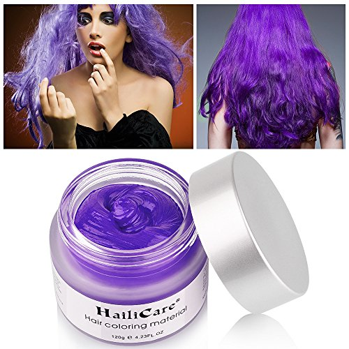 HailiCare Unicorn Purple Hair Wax 4.23 oz, Hair Pomades, Dye Hair Wax, Natural Matte Hairstyle Max for Party Hairstyle, Cosplay Outfit (Purple)