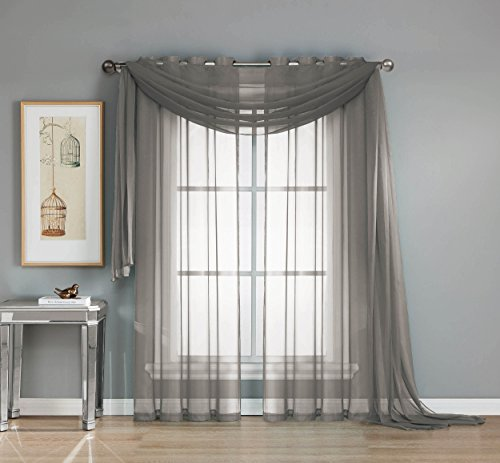 Window Elements Diamond Sheer Voile 56 x 216 in. Curtain Scarf, Charcoal (Window Covering Ideas)
