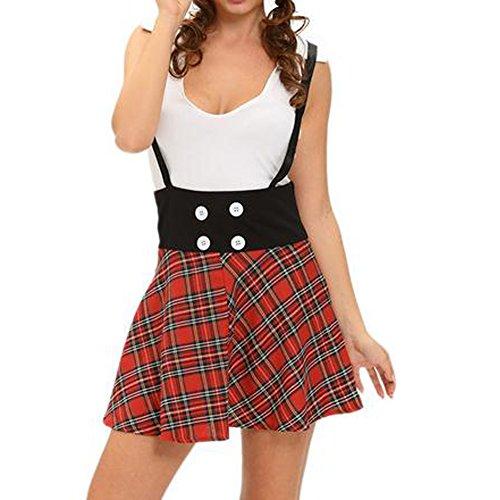 GERGER BO Mother's Day Lattice Pattern Harness Sleeveless Pleated Skirt Dress(Size,S)