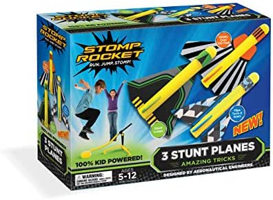 Stomp Rocket Stunt Planes - 3 Foam Plane Toys for Boys and Girls - Outdoor Rocket Toy Gift for Ages 5 (6, 7, 8) and Up