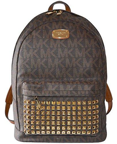Michael Kors Studded Jet Set Large Backpack PVC (Brown) by Michael Kors
