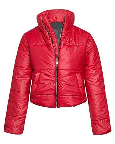 FLIRTY WARDROBE Womens Wet Look Cropped Jackets Coat Ladies Padded Bomber Bubble Puffer Short UK Red