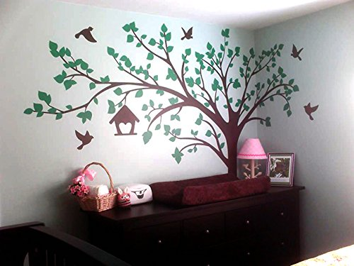 Amazon com popdecors big tree with love birds100 w custom beautiful tree wall decals for kids rooms teen girls boys wallpaper murals sticker wall