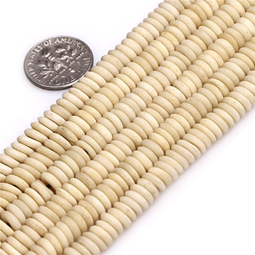 3x7mm Big Hole (hole 2mm ) Cream White Rondelle Donuts Bone Heishi Spacer Beads for Jewelry Making 9.5