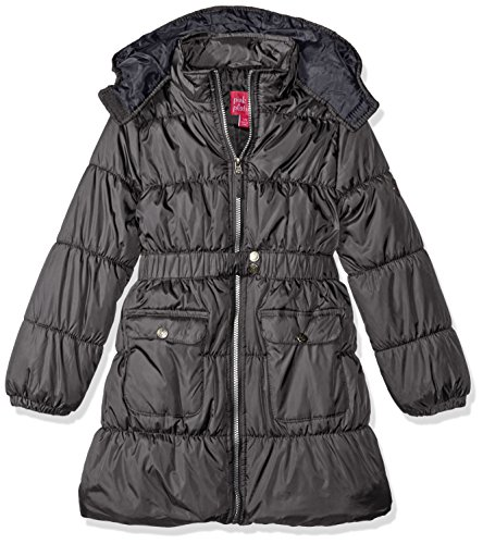 Pink Platinum Little Girls' Long Belted Puffer Jacket, Charcoal, 4
