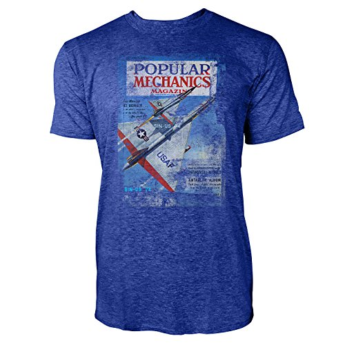 SINUS ART® Popular Mechanics Magazine Herren T-Shirts stilvolles blaues Cooles Fun Shirt mit tollen Aufdruck