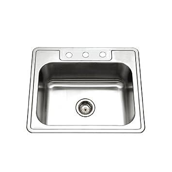 Houzer 2522 9BS3 1 Glowtone Series Topmount Stainless Steel 3 Hole Single  Bowl