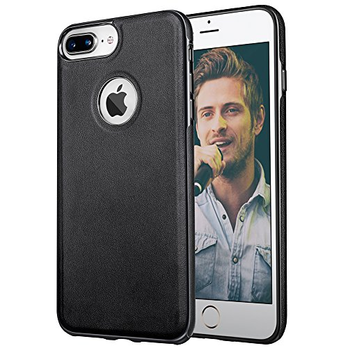 (Leather iPhone 7 Plus Cases, MIRACASE 5.5'' Apple Covers Shell Slim Soft TPU Bumper Anti-Slip Scratch Resistant Shockproof Drop Protective Cover Case for Apple iPhone 7 Plus (5.5 inch), Black)