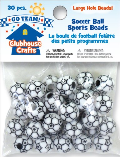 Clubhouse Crafts Sports Beads-Soccer Ball 30/Pkg