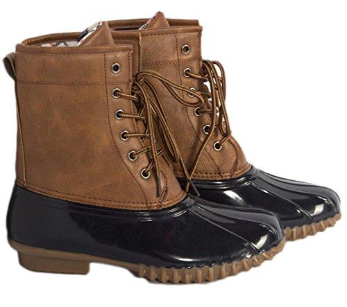 charles albert women stitching lace up side zip waterproof insulated calf rain duck boot 9 tan - Duck Rain Boots