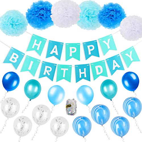 FATPET Blue Birthday Decorations Blue Party Supplies Boy Birthday Decoration 1st Birthday Boy Decorations Blue Birthday Party Supplies Happy Birthday Banner]()