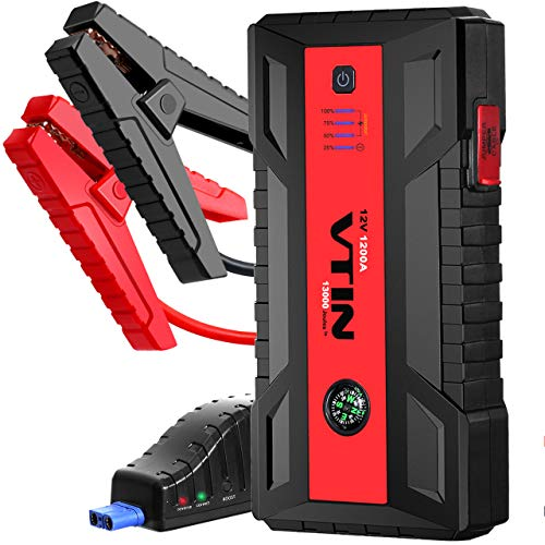 VTIN Car Jump Starter, 1200A Jump Starter (Up to 8.0L Gas 6.0L Diesel Engines) 12V Portable Battery Booster Power Bank with 4 Output Charging Ports(QC 3.0/Type-C) & 4Pcs Upgraded Electronic Chips
