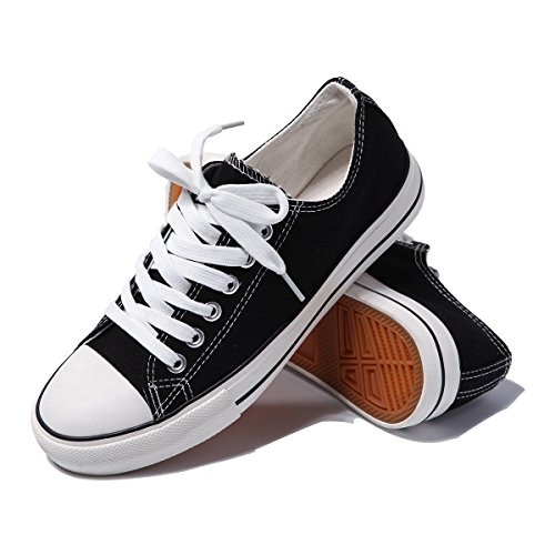 (AOMAIS Womens Canvas Shoes Sneaker Low Top Lace up Fashion Walking Shoes (US8, black1) ...)