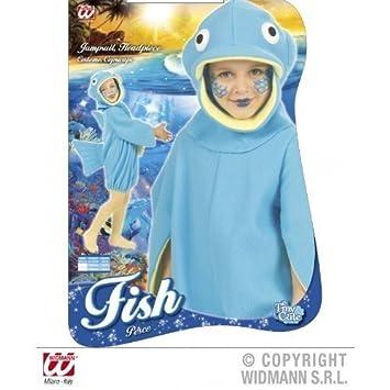 Bonito disfraz de Pez para niños de 2 - 3 años azul Gr, (92 - 104 ...