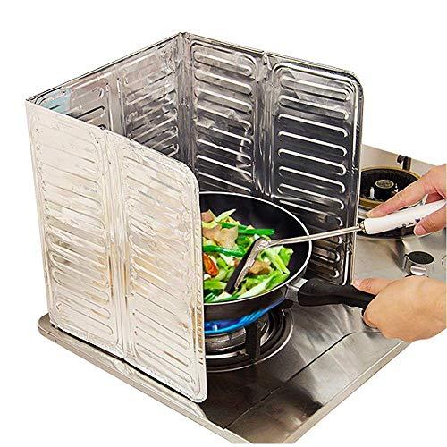 Gudelaa Oil Splash Guard,Kitchen Tool Aluminum Foil Resistant to High Temperatures Gas Stove Shield Oil Splatter Screen