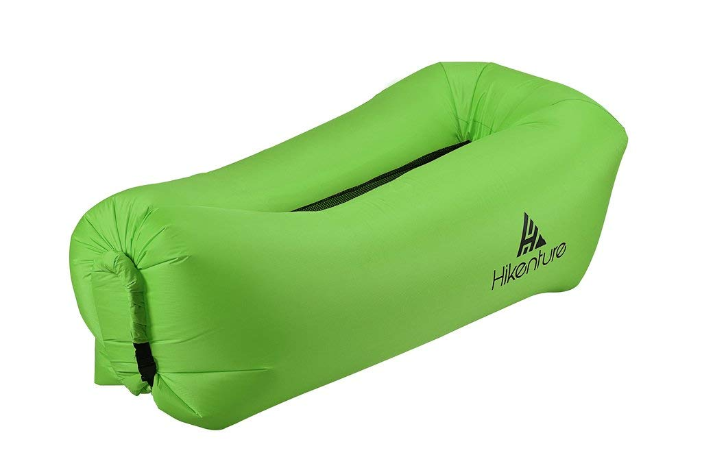 Inflatable Lounger Air Sofa by Hikenture - Outdoor Air Filled Lounge Hangout Portable Beach Chair - Waterproof Wind Hammock Pouch Couch - Camping, Hiking, Festival, Indoor Use (Green)