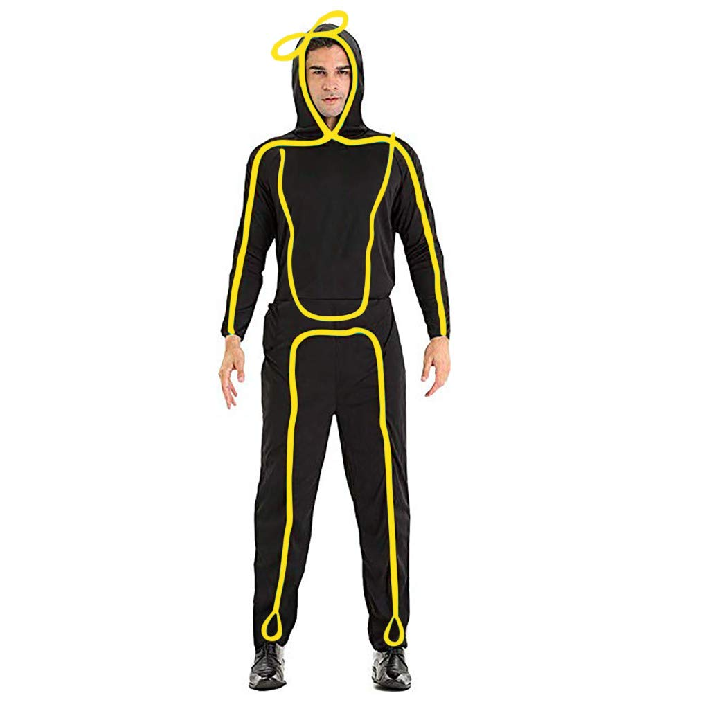 FEDULK Womens Men Stickman Costume Light-Up Stick Figure Dance Party Prom Performance Clothing(Yellow, Large) by FEDULK