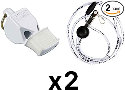 Fox 40 Micro 3-Chamber Pealess Whistle with Lanyard 2-Pack Black