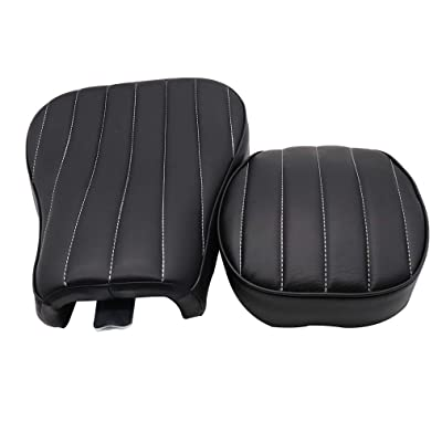 GOOFIT Motorcycle Black Front Rider Solo Seat + Rear Passenger Cushion Compatible with Harley Sportster Forty Eight Seventy Two 883 48 72 2004-2020(Vertical): Automotive