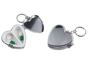 Juego de 2 cajas de metal forma de corazón píldora llavero ...