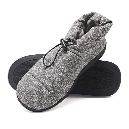 (Hanes Men's Slipper Boot House Shoes with Indoor Outdoor Memory Foam Odor Protection Fresh IQ Sole (Size Large, Grey))