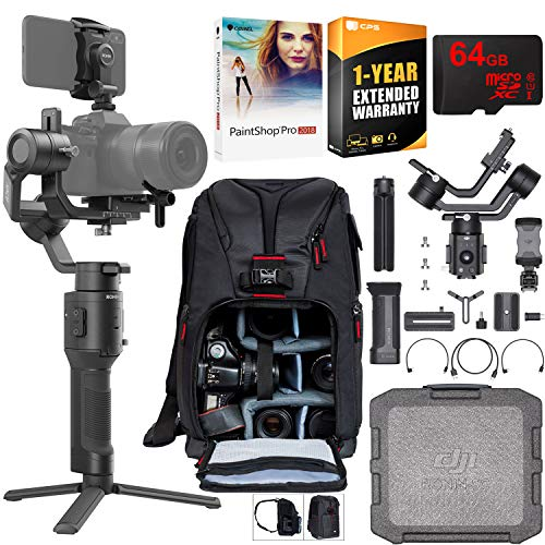 DJI Ronin-SC 3-Axis Gimbal Stabilizer for Mirrorless Cameras Pro Creative Bundle with Deco Photo Backpack + 64GB High Speed Card + Corel Paintshop Pro Software + 1 Year Warranty Extension