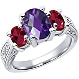 2.96 Ct Oval Checkerboard Amethyst Red Created Ruby 925 Sterling Silver 3-Stone Ring (Size 8)