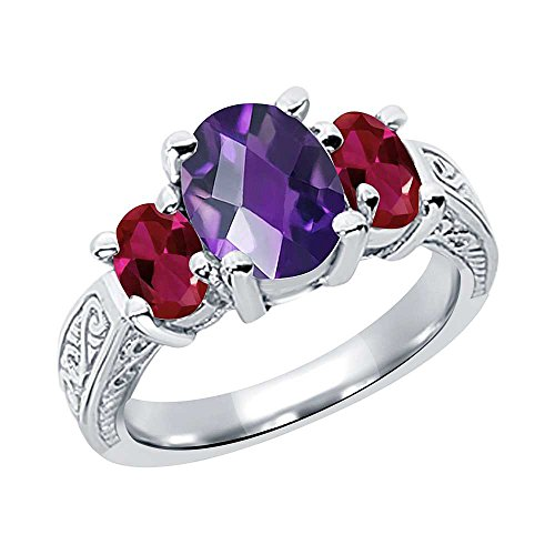 2.96 Ct Oval Checkerboard Amethyst Red Created Ruby 925 Sterling Silver 3-Stone Ring (Size ()