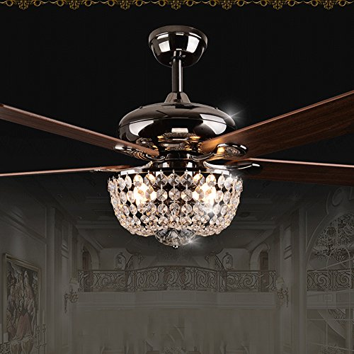 Andersonlight Crystal Ceiling Fan for Modern Living Room 5-Blades Remote Control with LED Light Kit Household Home Decorators Fan Light 42 Inch by Andersonlight