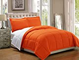 2 piece Luxury Orange/White Reversible Goose Down Alternative Comforter set, Twin/Twin XL with Corner Tab Duvet Insert