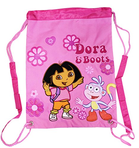 - Dora the Explorer Dora and Boots Flower Power Pink Drawstring Backpack
