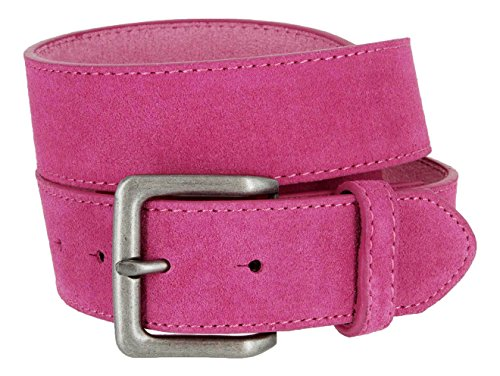 Square Buckle Casual Jean Suede Leather Belt for Women (Pink, 32) (Pink Leather Belt Strap)
