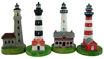 Collectors Gift Set Of 4 Assorted Lighthouse Figurines 4 Inch Resin Home  Boat Decor