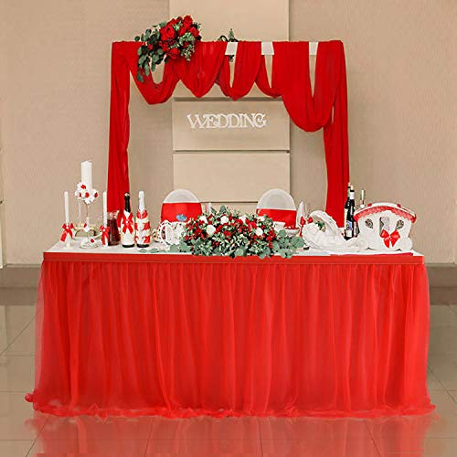 Suppromo 9ft Red Tulle Table Skirts for Rectangle