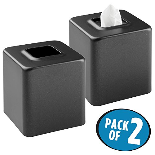 MetroDecor mDesign Facial Tissue Box Cover/Holder for Bathroom Vanity Countertops - Pack of 2, BlackM2